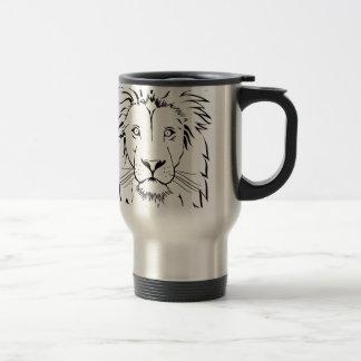lion drawing vector design travel mug