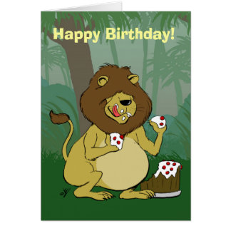 Lion Eating Cake - Happy Birthday Card