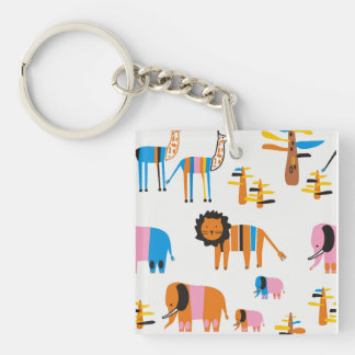 Lion, elephant with  giraffe and trees in white keychain