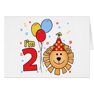 Lion Face 2nd Birthday Invitation Note Card