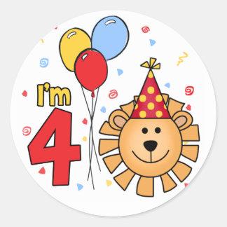Lion Face  4th Birthday Round Sticker
