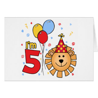 Lion Face  5th Birthday Invitations Note Card
