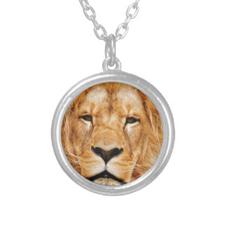 lion face yeah silver plated necklace