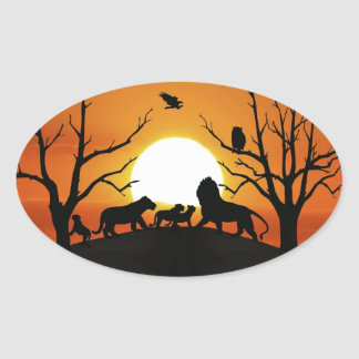 Lion family at sunset Africa Oval Sticker
