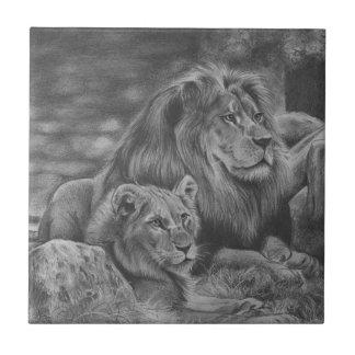 Lion family ceramic tile