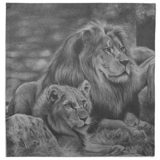 Lion family napkin