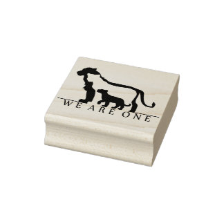 Lion Family Rubber Stamp