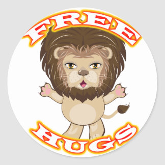 Lion Free Hugs Classic Round Sticker