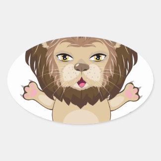Lion Free Hugs Oval Sticker