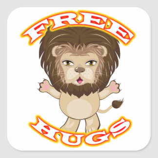 Lion Free Hugs Square Sticker