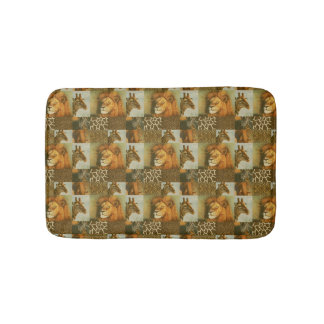 Lion Giraffe Photo Collage Animal Print Orange Bath Mat