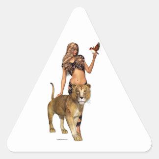 Lion Girl Triangle Sticker