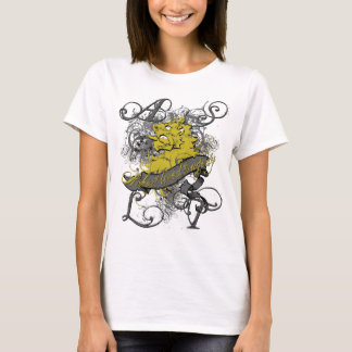 Lion Girl's Baby Doll on White T-Shirt