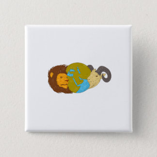 Lion Goat Head Middle East Map Globe Drawing 2 Inch Square Button