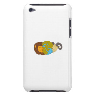 Lion Goat Head Middle East Map Globe Drawing Barely There iPod Case