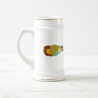 Lion Goat Head Middle East Map Globe Drawing Beer Stein