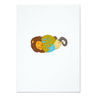 Lion Goat Head Middle East Map Globe Drawing Card