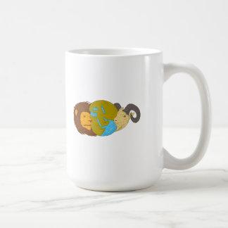 Lion Goat Head Middle East Map Globe Drawing Coffee Mug