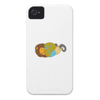 Lion Goat Head Middle East Map Globe Drawing iPhone 4 Case-Mate Cases