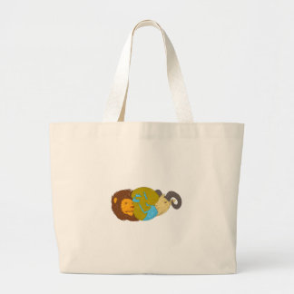 Lion Goat Head Middle East Map Globe Drawing Large Tote Bag