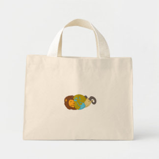 Lion Goat Head Middle East Map Globe Drawing Mini Tote Bag