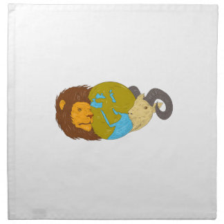 Lion Goat Head Middle East Map Globe Drawing Napkin