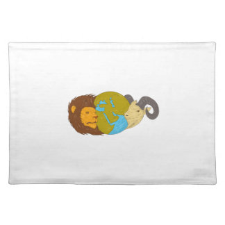 Lion Goat Head Middle East Map Globe Drawing Placemat