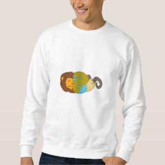 Lion Goat Head Middle East Map Globe Drawing Sweatshirt