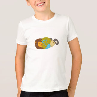 Lion Goat Head Middle East Map Globe Drawing T-Shirt