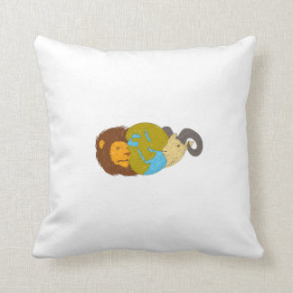Lion Goat Head Middle East Map Globe Drawing Throw Pillow