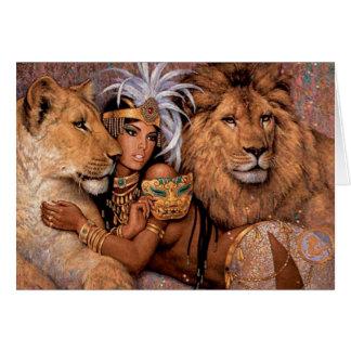 Lion Goddess Egyptian Princess Greeting Card