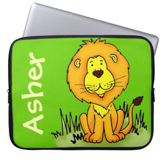 Lion graphic first name green kids laptop case