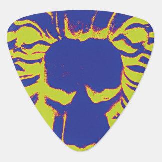 Lion head blue and yellow guitar pick