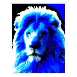 Lion Head Blue postcard