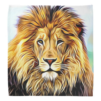 Lion head Digital painting Bandana