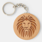 Lion head engraved on wood design keychain