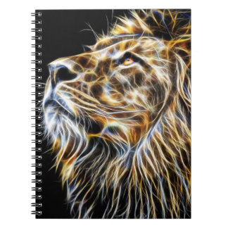 Lion Head Glowing Fractalius Notebook