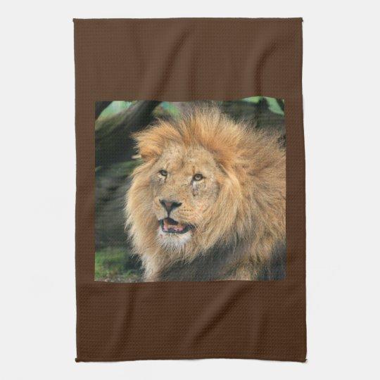 Lion head male beautiful photo kitchen tea towel
