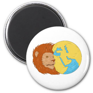 Lion Head Middle East Asia Map Globe Drawing 2 Inch Round Magnet