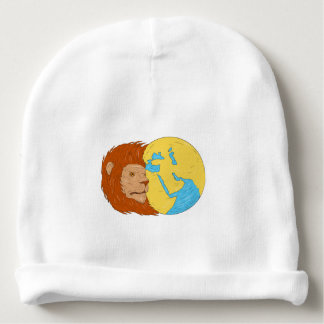 Lion Head Middle East Asia Map Globe Drawing Baby Beanie