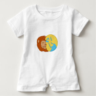 Lion Head Middle East Asia Map Globe Drawing Baby Romper