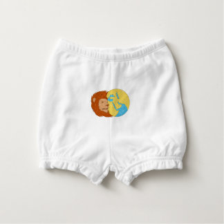 Lion Head Middle East Asia Map Globe Drawing Diaper Cover