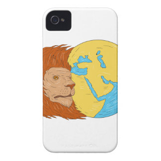 Lion Head Middle East Asia Map Globe Drawing iPhone 4 Case