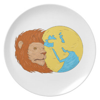 Lion Head Middle East Asia Map Globe Drawing Plate