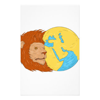Lion Head Middle East Asia Map Globe Drawing Stationery