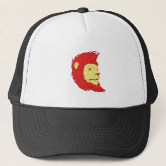 Lion Head With Flowing Mane Drawing Trucker Hat