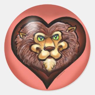 Lion Heart Pocket Tee Classic Round Sticker