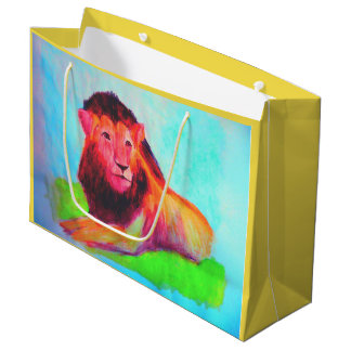 Lion Heart - Wild Animal Big Cat Art Drawing Large Gift Bag