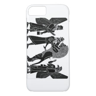 Lion Hunt Black on white iPhone iPhone 7 Case