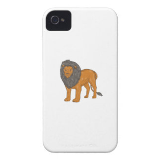 Lion Hunting Surveying Prey Drawing iPhone 4 Cover